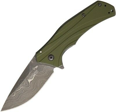 Kershaw Knockout Linerlock A/O Olive Damascus 1870OLDAM  (New in box)