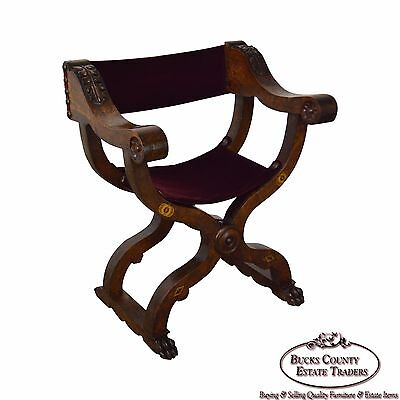 Antique 18th Century Italian Walnut X Form Savonarola Arm Chair
