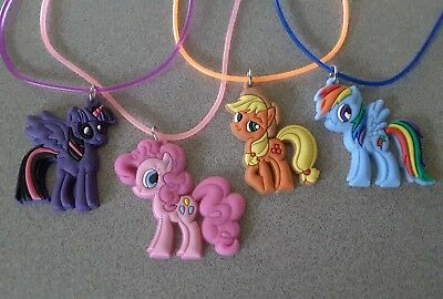 4 My Little Pony themed *USA* pvc necklace charms party favors