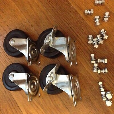 Set of 4 Industrial Factory Cart Swivel Caster Wheels plus hardware