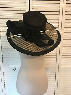 womens derby hat large black and white