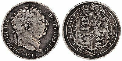 1818 George III sixpence Great Britain silver coin