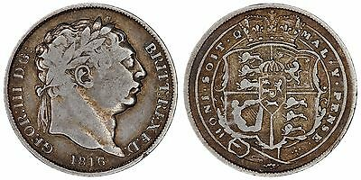 1816 George III sixpence Great Britain silver coin