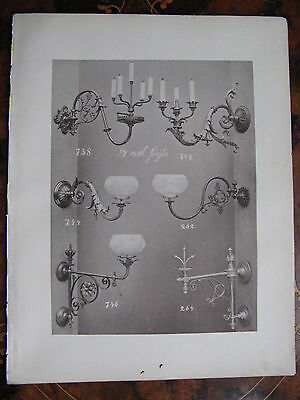 Glass Shade Gas & Candle  Wall Sconce Light Fitting   c1870 Photogravure