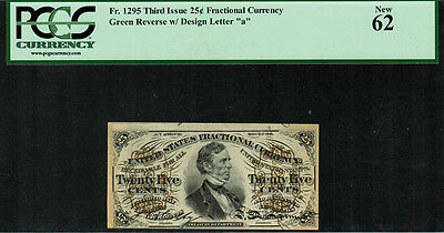 Fr-1295 $0.25 Third Issue Fractional Currency - 25 Cent - PCGS 62