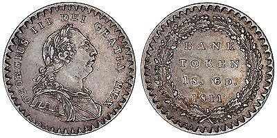 1811 George III eighteenpence bank of England silver coin