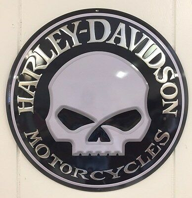 Ande Rooney HARLEY DAVIDSON WILLY BUTTON Motorcycle Skull Garage HD Tin Sign