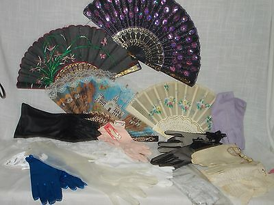 Women's Lot Hand Fans and Gloves 17 Items Vintage Ivory Color Hand Painted Look