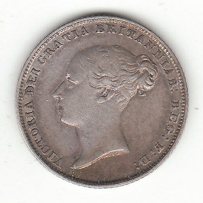 1850 Great Britain Queen Victoria Sterling Silver Sixpence. Rare Date.