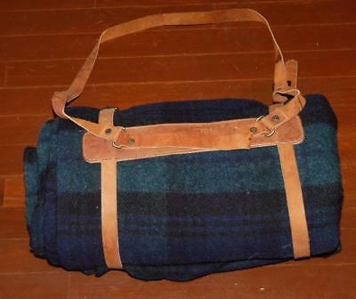 "Vintage Blue Plaid Woolrich Wool Blanket W/ Leather Harness 60"" X 80"" Quality"