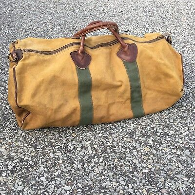 Vintage 60's LL Bean Cursive Canvas And Leather Duffle Bag