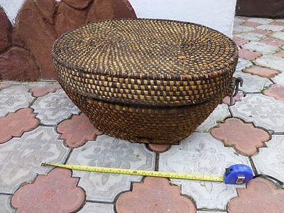 Antique primitive village big wicker basket box chest 1900s