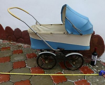 Vtg old antique Russian USSR Baby retro leather Carriage Stroller 50s-60s