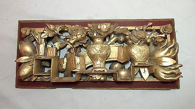 antique hand carved gold gilt Chinese lacquered wood figural sculpture panel .