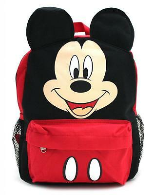 "New Licensed Mickey Mouse Happy Face 3D Ears 12"" Toddler Backpack Disney Mickey"
