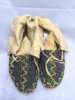 Rare Ca.1800's Antique Sioux Indian Baby Moccasins, fully beaded excellent!