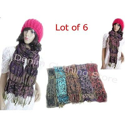 """6 Women Spring Winter Printed Shawl Stole Scarf Wraps Scarves Wholesale Lot 78"""""""