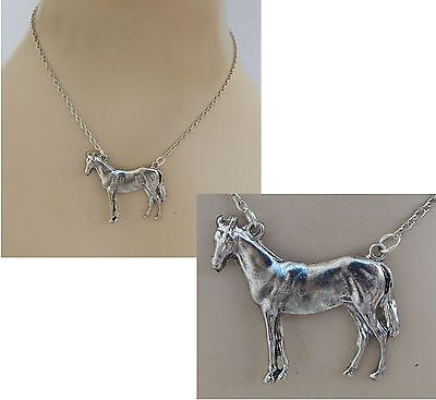 Silver Standing Horse Pendant Necklace Jewelry Handmade NEW Adjustable Fashion