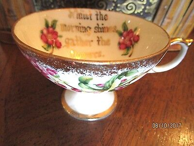 RARE VICTORIAN PEDESTAL TEA CUT FLORAL AND GOLD w INSIDE WORDS MORNING SHINES !