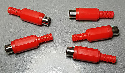 Red RCA Plastic Line Socket with strain relief Pack of 5