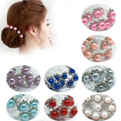 10Pcs/Set Charm Hair Pin Bead Wedding Bride Flower Clip Women Hair Accessories