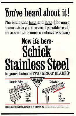 1963 Schick Stainless Steel Blades: Heard About It (9234) Print Ad