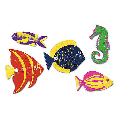 5 Plastic Tropical Fish Under the Sea Decorations Ocean Fun Birthday Party Event