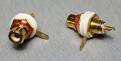 Red Female RCA Gold Plated Panel Mount Socket Pack of 2