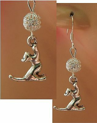 Silver Cat Charm Drop/Dangle Earrings Handmade Jewelry Hook Fashion Beads NEW