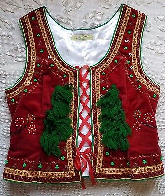 Polish woman's vest, Krakow/Bronowice style, red with green tassels, beadwork