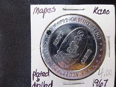 Mapes Casino Reno Nevada $1 Gaming Token Dated 1967 Plated & Drilled