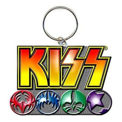 Official Licensed - Kiss - Logo & Icons Keychain Keyring Metal Rock Simmons