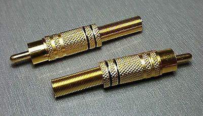 Black male RCA Gold Plated Plug with Strain Relief Pack of 2