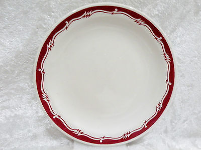 "Bristile - Side Plate vgc red zigzag band pattern (6"") 1973"