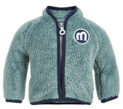 Cuddly Teddy Fleece Jacket in Light Green/Petrol with Logo Patch by Tiny Minymo