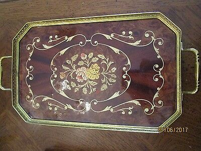 VINTAGE ITALY ITALIAN INLAID WOOD FLORAL DESIGN w BRASS SERVING TRAY AWESOME !!