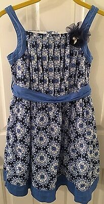 ~Maggie & Zoe~ Girls Size 8 Blue Floral Lined Dress Tulle Flower Jewel  EUC