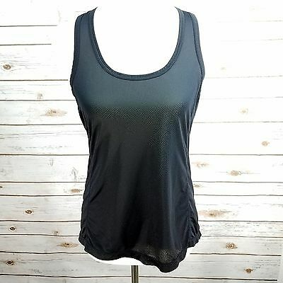 ZELLA Womens Racerback Athletic Tank Top Ruched Sheer Black Size Medium