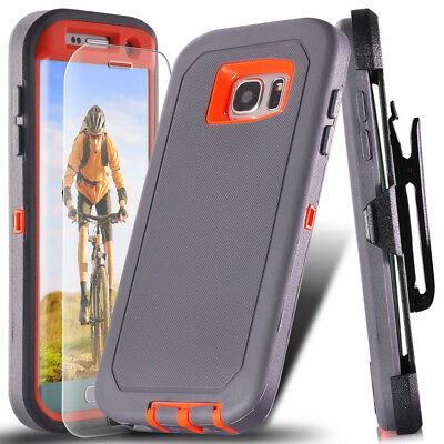 For Samsung Galaxy S7 Edge Belt Clip Holster Case Cover + Tempered Glass Screen