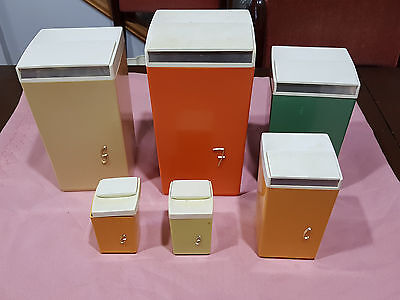 Vintage Retro Nallyware Cannisters x6
