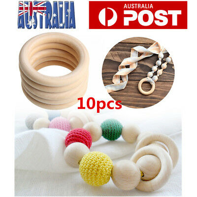 10X 55mm DIY Baby Wooden Teething Rings Necklace Bracelet Crafts Unfinished Wood