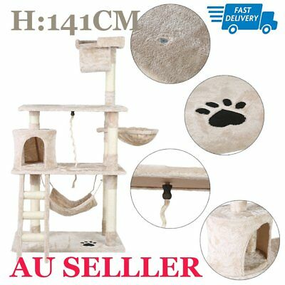 141Cm Cat Tree Kitten Scratching Post Scratcher Pole Toys Pet Gym House Bed Mr