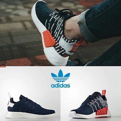 ADIDAS NMD R2 PK Primeknit Collegiate Navy White Mens sizes