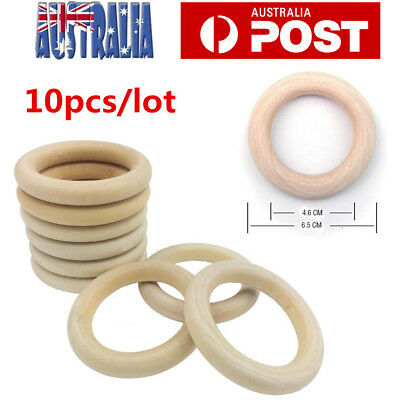 10pcs Natural Wooden Rings 65mm Unfinished Round Ring Jewellery Teething Nursing