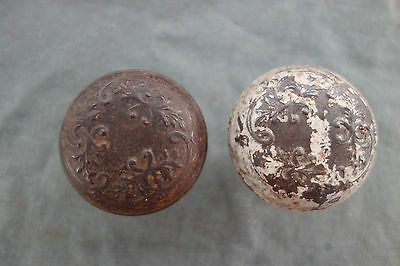 2 Antique Vintage Ornate Victorian Floral Design Doorknobs