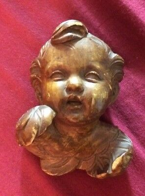Vintage European Carved Wood Angel Cherub Head W /wings Figurine 4''h Signed