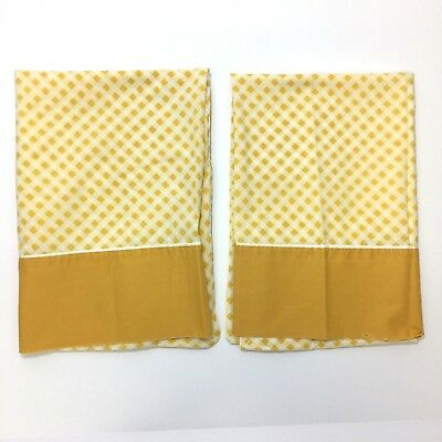 Vintage Cannon Monticello Pillowcases Gold Yellow Gingham Checkered Pair Lot