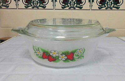 Vintage Pyrex, Milk Glass -Glasbake - 'Strawberry' Casserole, excellent conditio