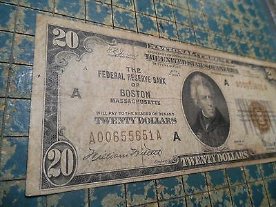 """1929 FRBN Boston """"National Currency""""  $20. in Fine with Brown S/N+Seal #BN-12A"""