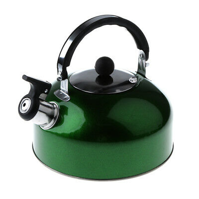 3L Camping Travel Boat Stainless Steel Whistling Kettle Coffee Pot w/ Handle